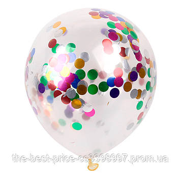 Куля 12 дюймів з конфетті кружечками (уп. 5шт)