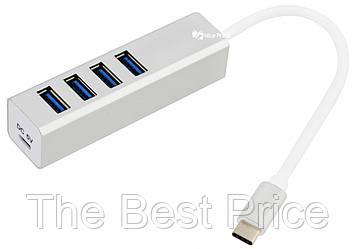 Хаб (концентратор) Dellta USB TYPE C на 4 USB Silver