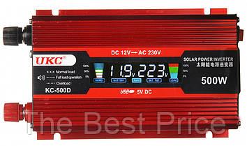 Преобразователь UKC авто инвертор 12V-220V 500W LCD KC-500D USB Red