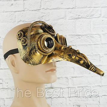 Маска винтажная стимпанк Чумной доктор (золото)