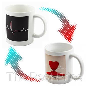 Чашка хамелеон Кардиограмма (сердце) (товар с дефектом)