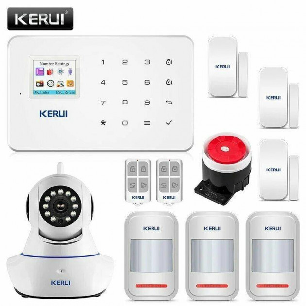Комплект бездротової gsm сигналізації Ultra для 2-кімнатної квартири c WiFi поворотною камерою 2Mp Kerui G18