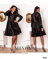 Платье из эко-кожи с расклешённым подолом, украшенным оборками с 42 по 48 размер, фото 3