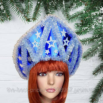 Корона кокошник Зимний узор синий
