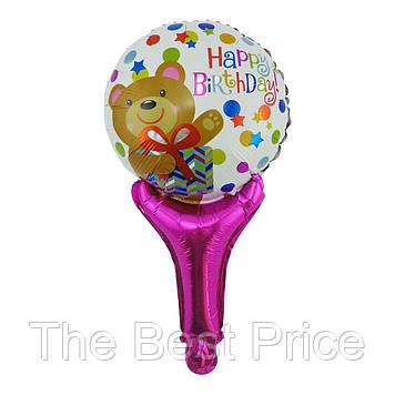 Шарик с надувной ручкой Happy Birthday (мишка)
