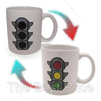 Чашка хамелеон Светофор (белая)