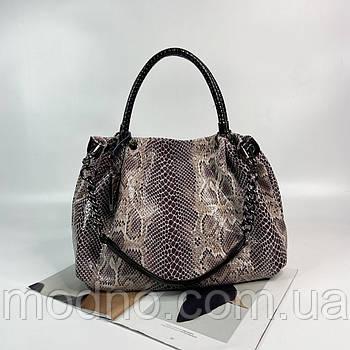 Жіноча шкіряна сумка на плече зі структурою під змію Polina & Eiterou
