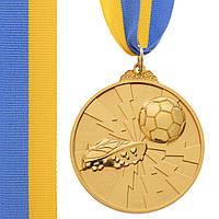 Медаль спортивная с лентой двухцветная d-6,5см Футбол C-4847 (металл, покрытие 2 тона, 56g золото, серебро,