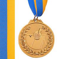 Медаль спортивная с лентой двухцветная d-6,5см Настольный теннис C-7028 место (металл,покр. 2тона, 56g,