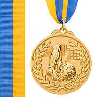 Медаль спортивная с лентой двухцветная d-6,5см Футбол C-7030 место (металл,покр. 2тона, 56g, 1-золото,