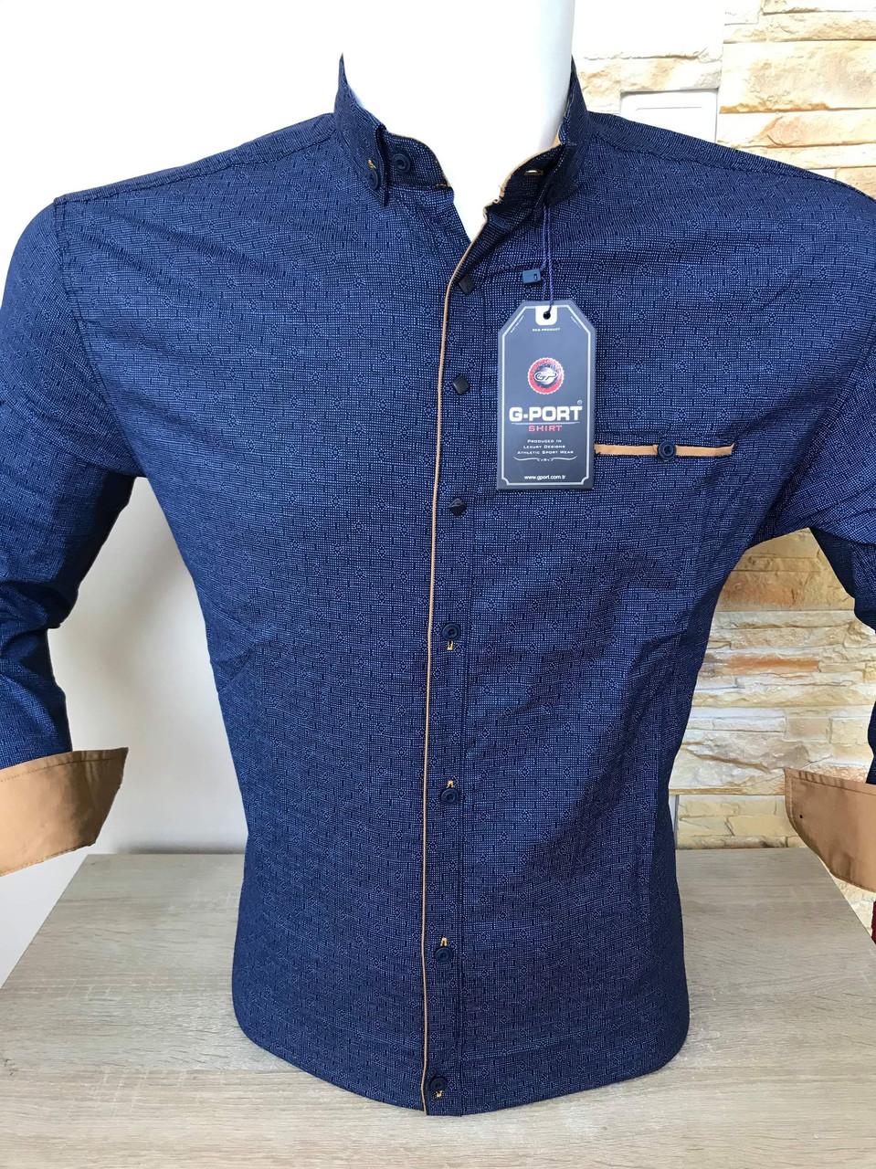 Приталена сорочка з довгим рукавом  G-Port*680 з принтом