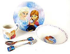 Детский набор керамической посуды для кормления Холодное сердце(снежинка) 5 предметов