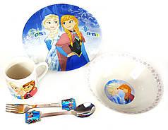 Детский набор керамической посуды для кормления Холодное сердце(Анна-Эльза) 5 предметов