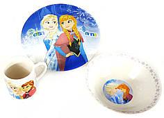 Детский набор керамической посуды для кормления Холодное сердце(снежинка) 3 предмета