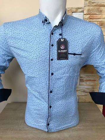 Приталена сорочка з довгим рукавом  G-Port*890 з принтом, фото 2