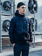 Куртка спортивная мужская с капюшоном весна осень из Soft Shell, стильная качественная ветровка, черно синяя