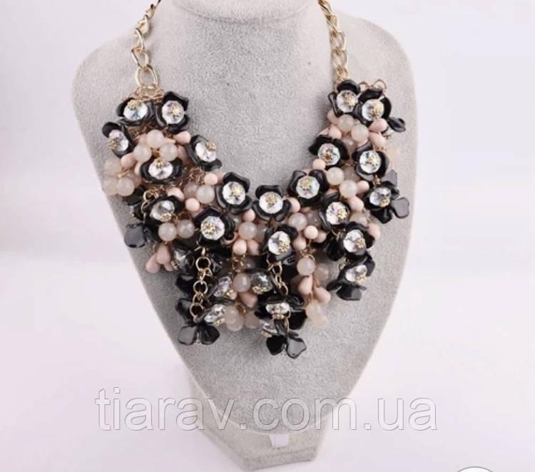 Колье массивное, ожерелье большое, модная бижутерия