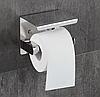 Держатель туалетной бумаги с полкой Хром матовый