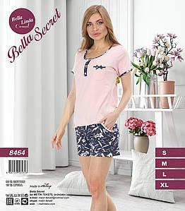 Домашний комплект с однотонной футболкой и шортами 42-48 р