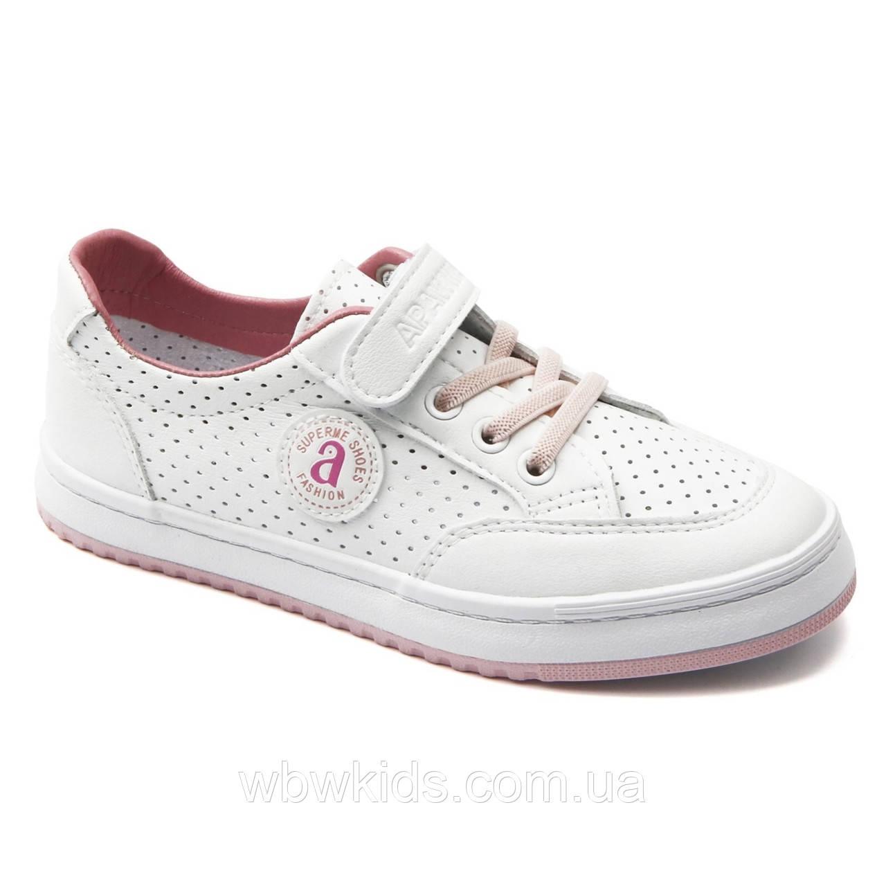 Кеды детские Apawwa VC83-1 Pink для девочки розово-белые 35