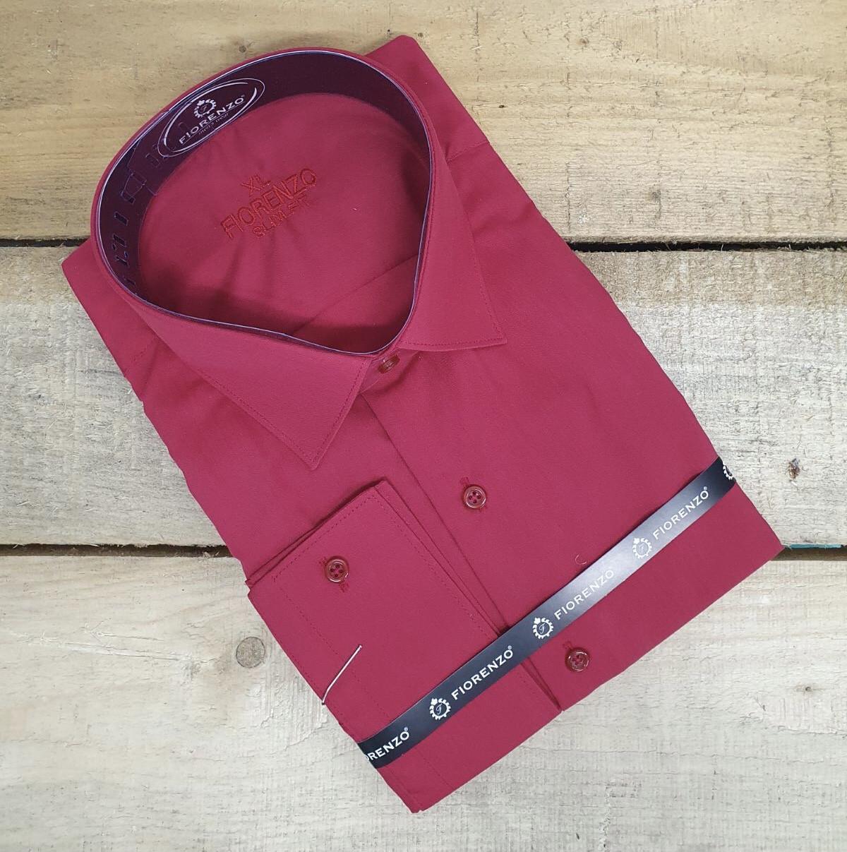 Чоловіча приталена однотона сорочка Fiorenzo