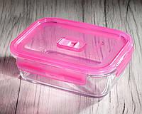 Контейнер пищевой прямоугольный PureBox,1220 мл с розовой крышкой Luminarc.