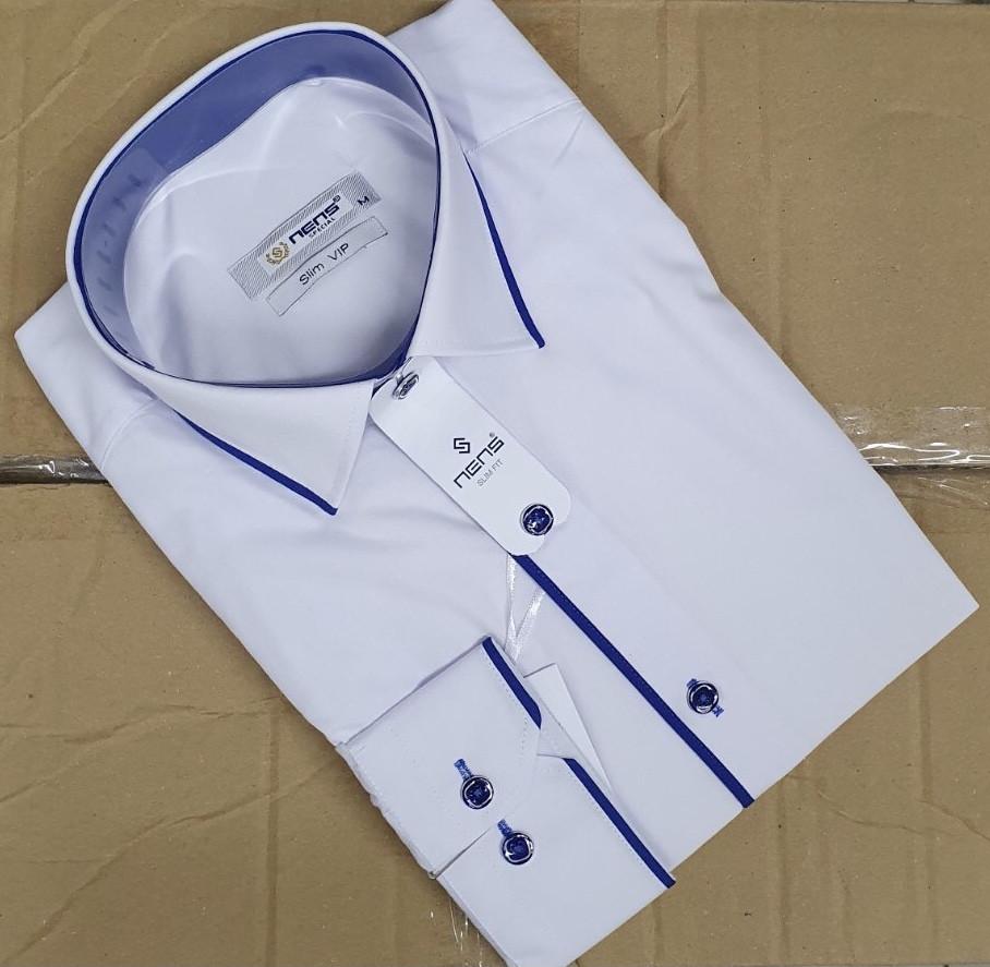 Біла приталена чоловіча сорочка Nens