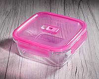 Контейнер пищевой квадратный PureBox, 1220 мл с розовой крышкой Luminarc.