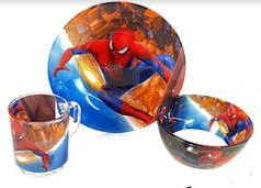 Детский набор стеклянной посуды для кормления Человек паук (Спайдер мен) 3 предмета Metr+