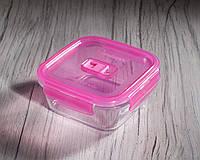Контейнер пищевой квадратный PureBox, 760 мл с розовой крышкой Luminarc.
