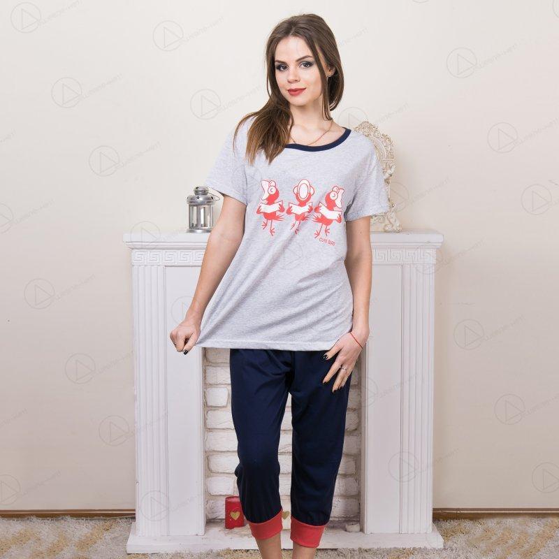 """Комплект двойка женский: футболка и бриджи """"Птицы"""" Asma (Турция) asm2709"""