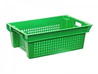 Ящик 600х400х200 зеленый перфорированный вторичный