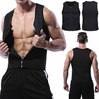 Чоловічий жилет для бігу, для схуднення, на блискавці, неопрен Zipper Vest