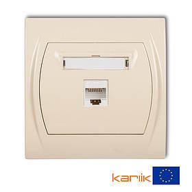 Розетка компьютерная UTP RJ45 cat 5E Karlik Logo 1LGK-1 бежевая встроенная сетевая одинарная 8P8C интернет