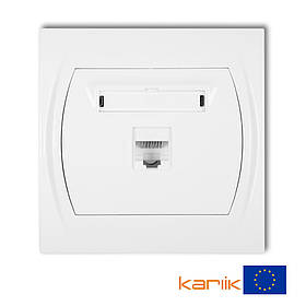 Розетка компьютерная UTP RJ45 cat 5E Karlik Logo LGK-1 белая встроенная сетевая одинарная 8P8C RJ-45 интернет
