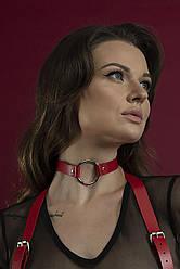 Червоний чокер з кільцем з натуральної шкіри Feral Feelings - O-Ring Collar
