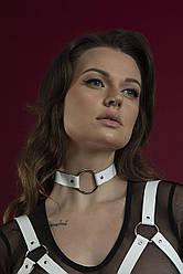Білий чокер з натуральної шкіри з кільцем Feral Feelings - O-Ring Collar