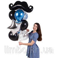 Шарики для мужчины на день рождения с фольгированной фигурой Усы
