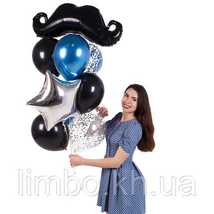 Шарики для мужчины на день рождения с фольгированной фигурой Усы, фото 2