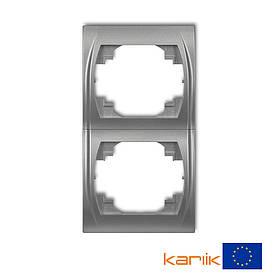 Рамка 2-я вертикальная Karlik Logo серебристый металлик 7LRV-2 двухместная двойная для розетки выключателя 2ая