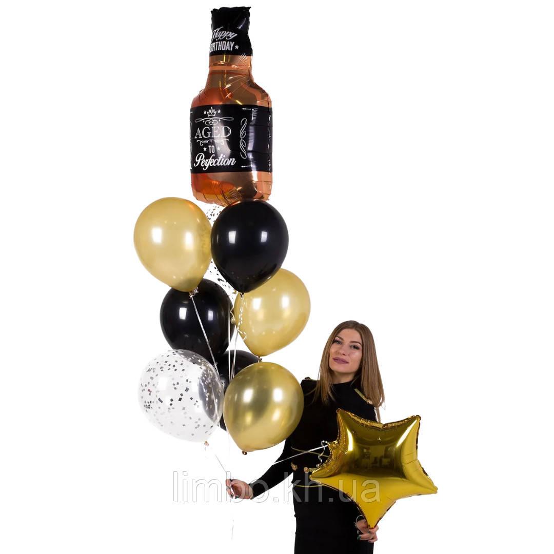 Кульки на день народження чоловіка з фольгированной фігурою Віскі