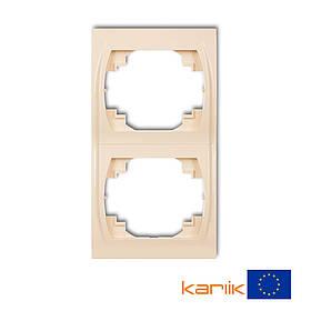 Рамка двойная вертикальная бежевая Karlik Logo 1LRV-2 двухместная для розетки выключателя 2-я кремовая   крем