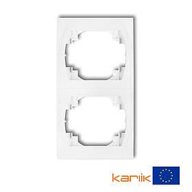 Рамка двойная вертикальная белая Karlik Logo LRV-2 двухместная для розетки выключателя 2-я   2-ая