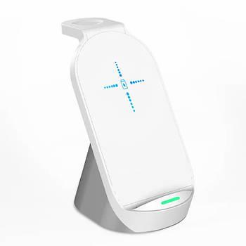 Бездротова зарядка 3в1 HYD-H18 15W нового дизайну портативна зарядка док-станція для телефону White