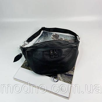 Женская кожаная сумка бананка на пояс и через плечо черная