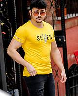 Стильная мужская футболка S M Футболка желтая SEVEN Турция