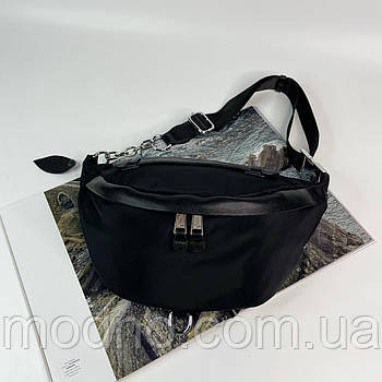 Жіноча текстильна сумка бананка на пояс і через плече чорна
