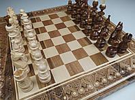 Шахматы деревянные резные ручной работы набор 3 в 1 шахматы, шашки, нарды.