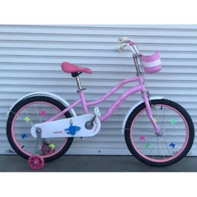 Велосипед 881 розовый, принцессы, колеса16 с корзинкой, вспомогательные колеса, детский, прогулочный