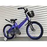Магниевый детский велосипед ТТ-001, синий, с корзинкой, TopRider, колеса 18, фото 2